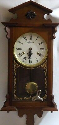 Vintage LINDEN 31 Day Pendulum Chime Wood Wall Clock +Key For Parts Or Repair