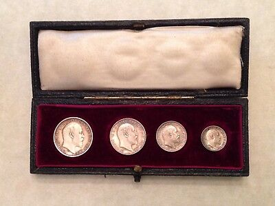 - Great Britain 1902 Edward VII Boxed Maundy Set with Original Dated Case