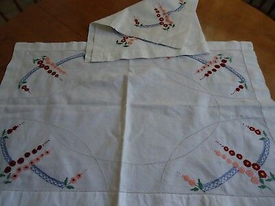 2 Vintage Tray cloths / Table Centres  Embroidered. 74 cm x 48.5 cm approx