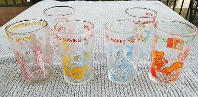 Set Of 5 1970's Archie Comics Glasses / Welch's Jelly Jars 1 Flinstone's