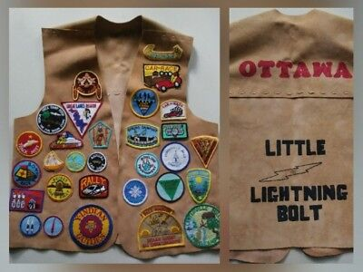 Indian Guides Suede Leather Vest Lots Of Patches Ottawa YMCA Camp Costume