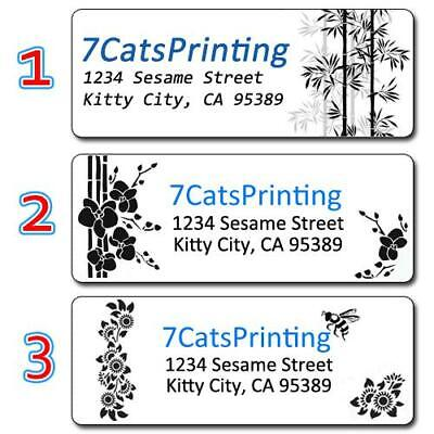 30 Personalized Return Address Labels Black and White Elegant Simple Pattern