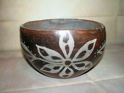 Native American Decorated Pottery Bowl. Red Clay. Flower Design Decoration.