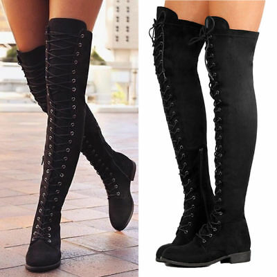 4a0cd3039d30 Womens Ladies Thigh High Boots Over The Knee Party Stretch Block Mid Heel  Size
