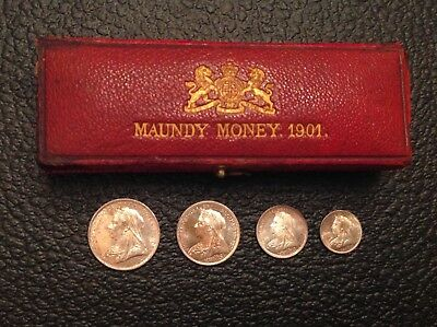 - Great Britain 1901 Original Cased Victoria Maundy Set Choice Uncirculated Unc