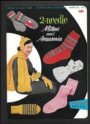 Coats Clark 316 Vintage Knitting Patterns Mittens Accessories Socks Hats 1955