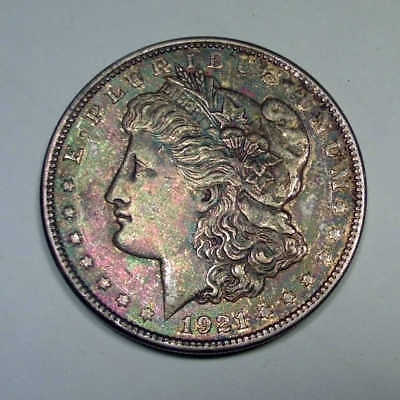 1921 P Morgan Silver Dollar Toned - Grade AU US Coin - msd072118001
