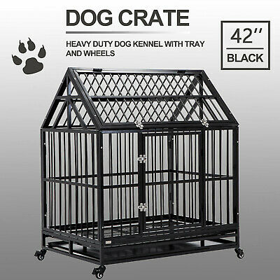 "XXL 48"" Heavy Duty Pet Dog Cage Strong Metal Crate Kennel Playpen w/ Wheels&Tray"