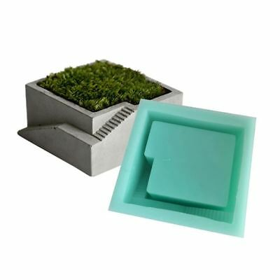 DIY Silicone Mold Concrete Square Round With Stairs 4 Styles Desktop Moss Bonsai