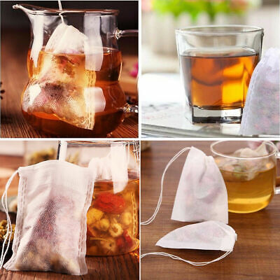 100X Extra Large Empty Teabags String Heat Seal Filter Paper Herb Loose Tea Bag
