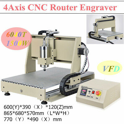 4Axis 6040T CNC Router Engraver 1500W Engraving Drilling Milling Machine Cutter