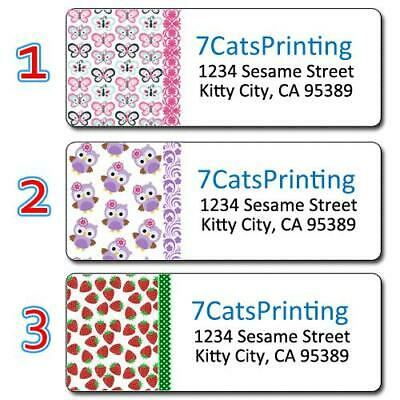 30 Personalized Return Address Labels Colored Cute Owls Strawberries Butterflies