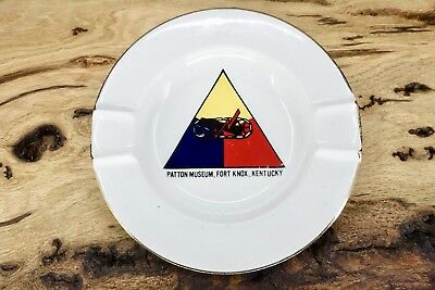 Vintage Patton Museum Fort Knox Kentucky Ceramic Ashtray - White - Gold Accent