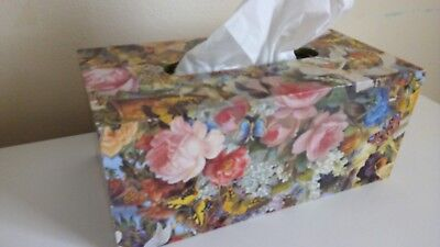 Wooden Floral Decoupage Tissue Box Shabby Chic Style.
