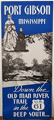 1950's Port Gibson Mississippi Old Man River Trail US 61 travel brochure map b