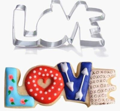 Aus Seller...LOVE  Cookie Cutters Fondant Mould Decorating Icing ...9.5 x 4.6cm