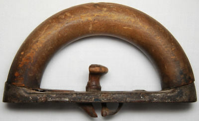 Antique Sad Iron Colebrookdale Iron Co. Rounded Wood Handle with Spring Release