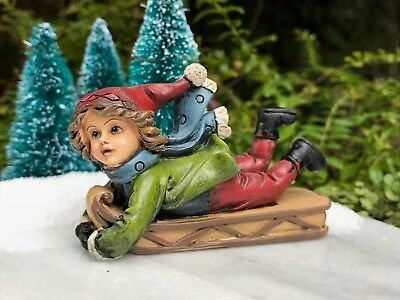 Miniature Dollhouse FAIRY GARDEN Figurine ~ Winter CHRISTMAS Sledding Boy w Sled