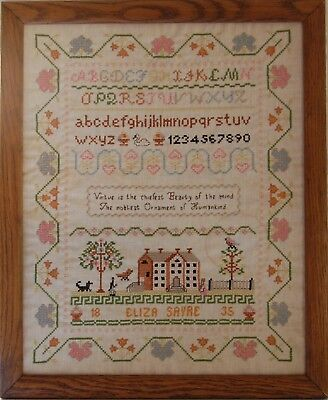 1835 Eliza Sayre Needlework Folk Art Sampler w/Dog, Swan, Hearts, Colonial Bldg
