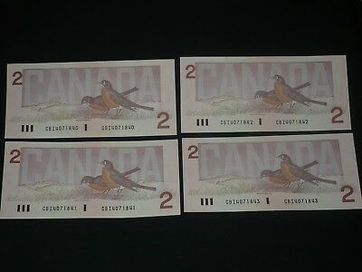 4 Consecutive Notes- 1986 Bank Of Canada $2 Two Dollar Bills Unc