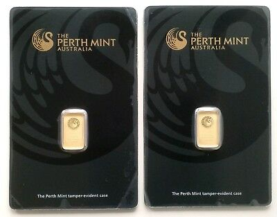 2 X 1 Gram 99.99% Fine Gold Bar - Perth Mint (in Assay - Black) (B068786 & 87)