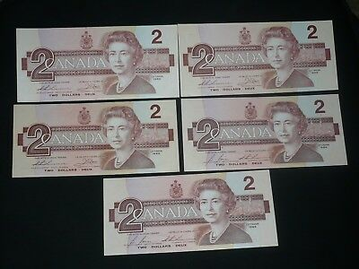 1986 Bank Of Canada $2 Two Dollar Bills X 5 Notes