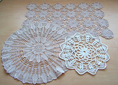 3 Vintage Hand Crocheted Doilies - 1 White & 2 Beige