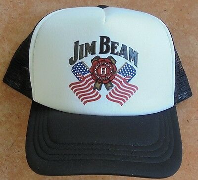 Jim Beam Cap Black & White With Flag Emblem & Adjustable Head Band - Never Worn