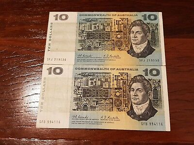 """2x 1967 Commonwealth of Australia """"Coombs & Randell"""" $10 notes."""