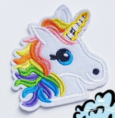 BRIGHT RAINBOW UNICORN EMBROIDERED  iron on patch