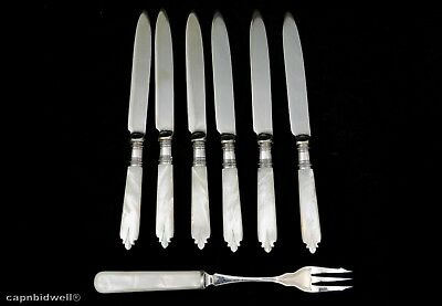 6 Sheffield England Mother of Pearl knives and a fork.