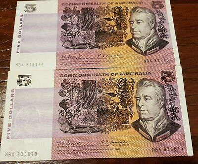 """RARE/SCARCE.. 2 x Commonwealth of Australia """"Coombs&Randell"""" $5 Banknotes..."""