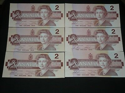 1986 Bank Of Canada $2 Two Dollar Bills X 6 Notes