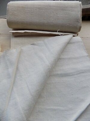 Antique homespun Flax Linen Fabric 1890s White/Cream 56x420cm Great condition