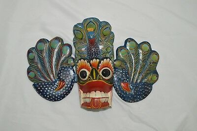 Vintage Wood Mask of Raksha - Sri Lankan Hand Painted Colorful