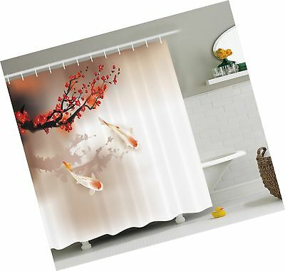 Sakura Branch and Leaves Sacred Animals in Small Body of Water Oriental Style 29.5 W X 17.5 W Inches Lunarable Koi Fish Bath Mat Peach Black Red Plush Bathroom Decor Mat with Non Slip Backing