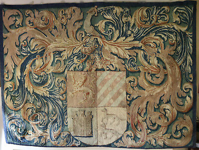 Antique Aubusson Heraldic Wall Tapestry Armorial Coat of Arms Circa 1800