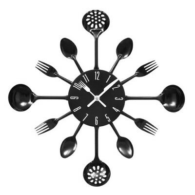 Cutlery Kitchen Wall Clock Large 43cm Modern Retro Black Fork Spoon Decoration
