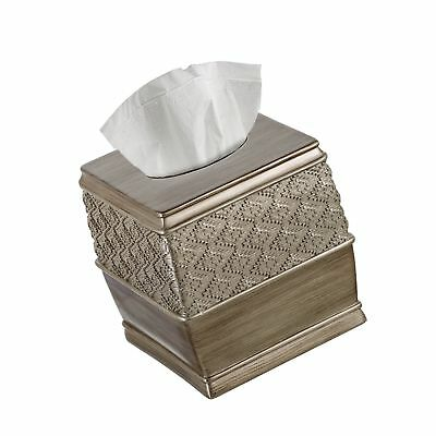 """6/"""" x 6/"""" x 5.75/"""" – Creative Scents Quilted Mirror Tissue Box Cover Square"""