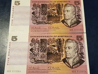 """2x Consecutive Pair 1967. Commonwealth of Australia """"Coombs & Randell"""" $5 notes"""