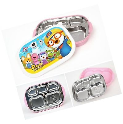 Baby Pororo Stainless Steel Food Snack Plate Tray Lunch Box For Kids Children Pk