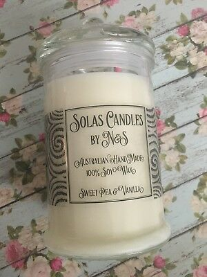 Candle- Sweet Pea & Vanilla Scent (100% Natural Soy Wax) - Large