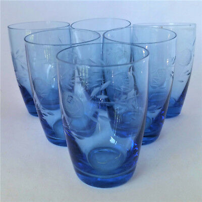 Vintage Etched BLUE water Glasses ROSES vintage Set of 6 blue galsses