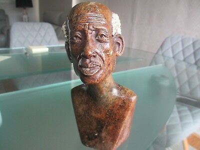 Brown Stone Figure Of Man From Zimbabwe - Head & Shoulders Dated 1996
