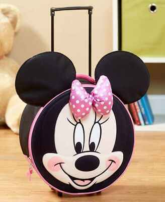 Disney Kids Molded Rolling Luggage Wheels Telescopic Handle Minnie Mickey Mouse