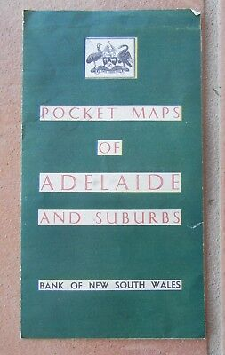 Pocket Map Of Adelaide by Bank Of NSW 1950s