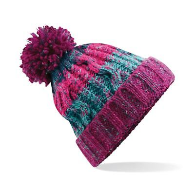 Chunky Knit Winter Bobble Hat Unisex Colourful Knitted Beanie Ski Snow Fashion