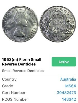 1953m Australia Florin 2/- Small Reverse Denticles PCGS Secure GRADED - MS64