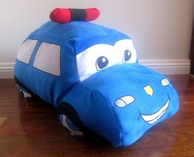 Brand New Boys Large Blue Car Cushion Made from Velvetly, Plush, Soft Fabric