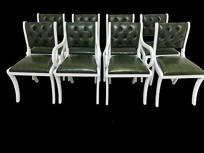 Set of 8 very rare and elegant Regency Style real leather dining chairs